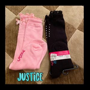 ❤️NWT❤️justice high socks with bow and rhinestones